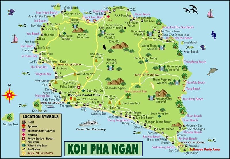 Пляжи пангана на карте