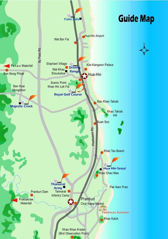 пляжи Хуа Хина на карте