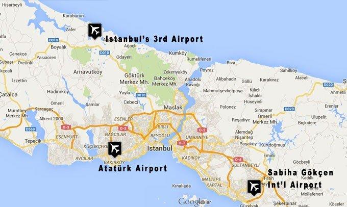 Аэропорты Стамбула на карте