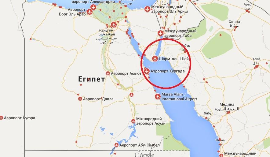 Аэропорты Египта на карте