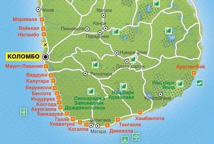 курорты шри ланки на карте