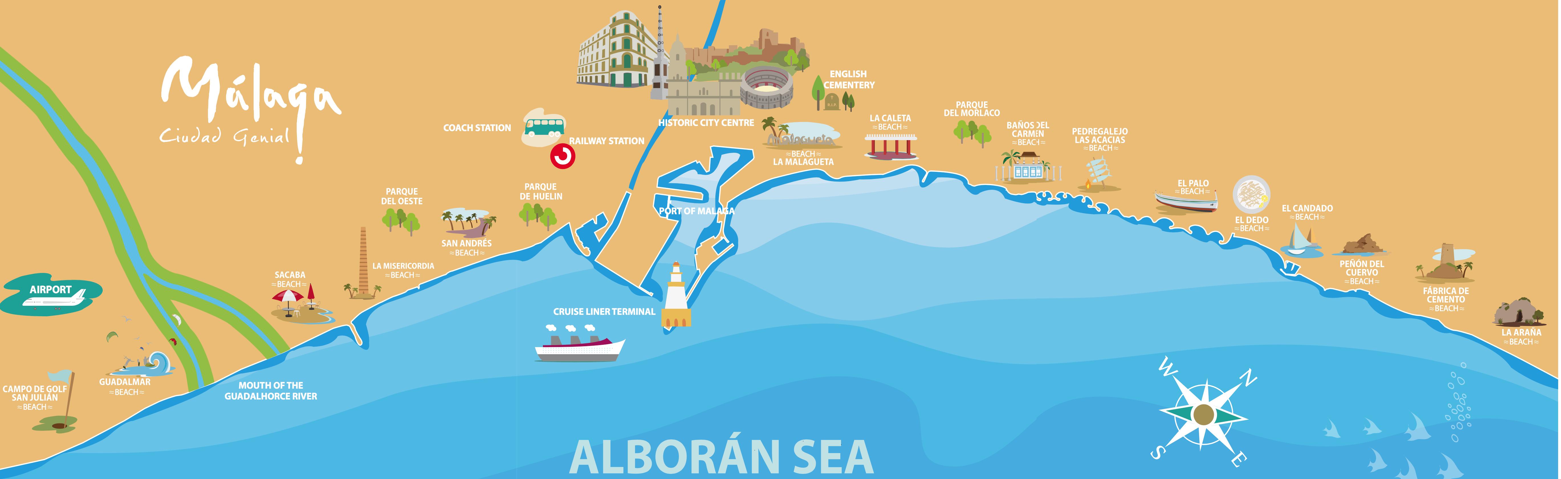 Пляжи Малаги на карте Испании