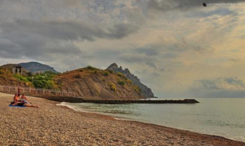 Пляж курортного крым